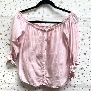 Caution To The Wind Pink Plaid Off Shoulder Top